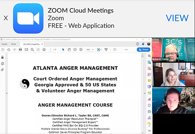 ZOOM LIVE VIDEO CONFERENCING ANGER MANAGEMENT CLASSES